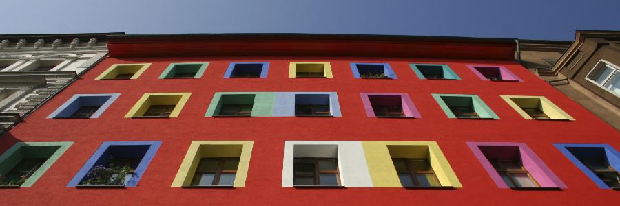 multicoloured windowed block